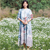 BABAKUD Retro Vintage Silk Linen Loose Dress 2019 August New