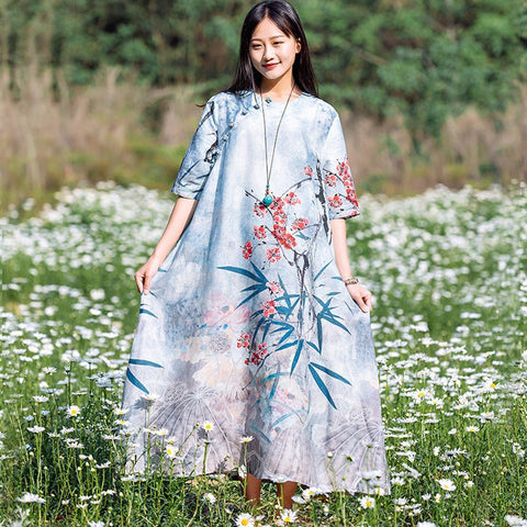 BABAKUD Retro Vintage Silk Linen Loose Dress 2019 August New M Blue