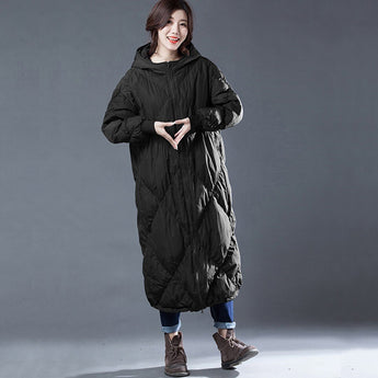 Babakud Rhombus Sewing Solid Hooded Winter Down Coat 2019 October New One Size Black