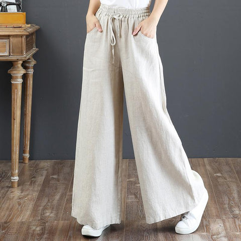 Babakud Rich Linen Casual Loose Elastic Drawstring Wide Leg Pants 2019 July New M Linen