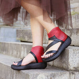 Babakud Rome Clip Toe Zippers Color Block Leather Sandals 2019 July New