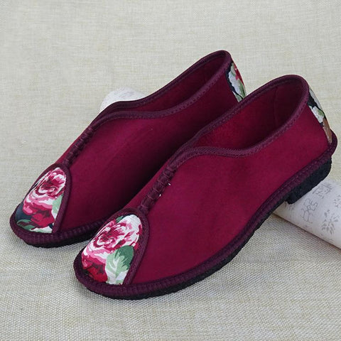 Babakud Sewing Embroidery Casual Flats Cloth Shoes 2019 July New 35 Wine Red