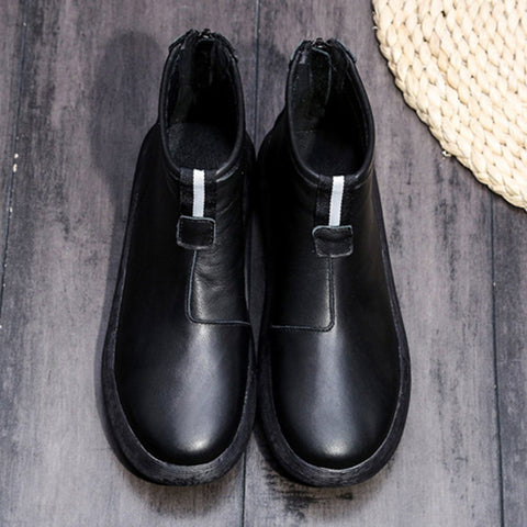 Babakud Simple Essential Solid Leather Women Casual Boots 34-41 2019 October New 34 Black