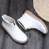 Babakud Simple Essential Solid Leather Women Casual Boots 34-41 2019 October New 34 White Plush