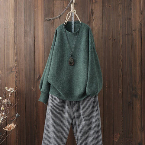 BABAKUD Solid Casual Loose Raglan Sleeve Comfy Sweater 2019 August New One Size Green