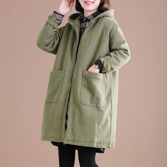 Babakud Solid Casual Loose Thick Coat With Zipper 2019 October New M Green