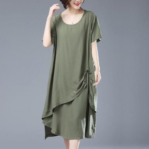 Babakud Solid Crew Neck Ruched Casual Loose Dress 2019 Jun New L Army Green