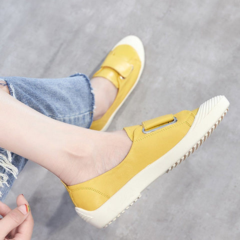 Babakud Solid Leather Slip On Soft Casual Velcro Shoes 2019 July New 35 Yellow