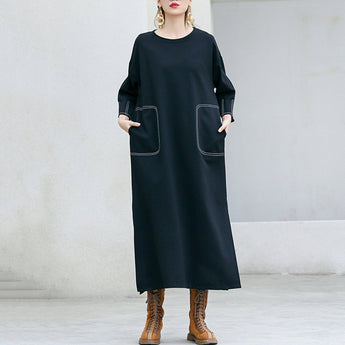 Babakud Solid Sewing Casual Loose Long Sleeve Dress 2019 September New One Size Black