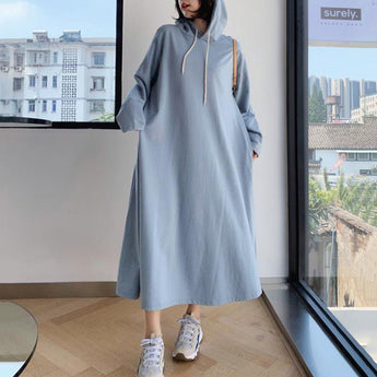Babakud Solid Shift Loose Casual Maxi Hooded Dress 2019 November New L Light Blue