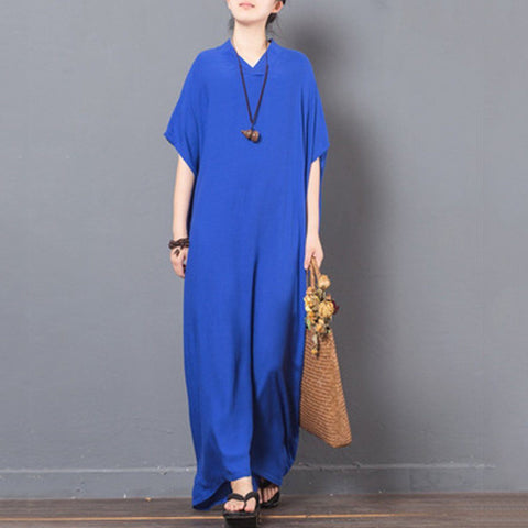 Babakud Solid V-Neck Casual Maxi Dress 2019 July New One Size Blue