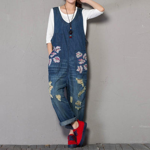 BABAKUD Spring Autumn Denim Loose Printing Sleeveless Jumpsuit 2019 September New Oen Size Blue