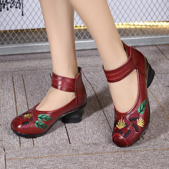 BABAKUD Spring Autumn Ethnic Style Handmade Embroidered Retro Shoes 2019 August New One Size Red
