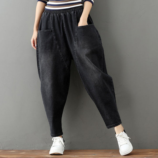 BABAKUD Spring Autumn Loose Casual Women's Harem Pants/M-3XL 2019 September New One Size Gray-Black