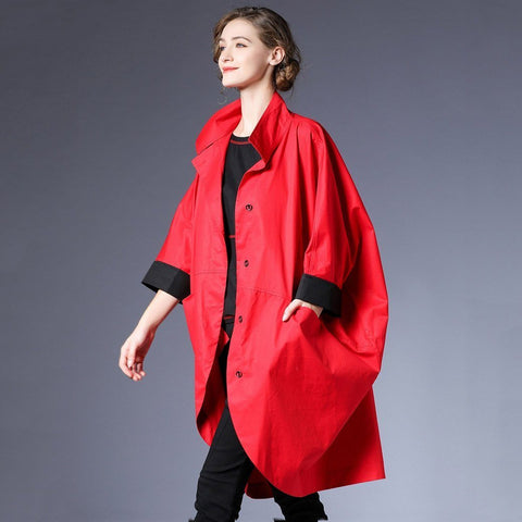 BABAKUD Spring Autumn Loose Windbreaker Casual Coat Women 2019 August New S Red