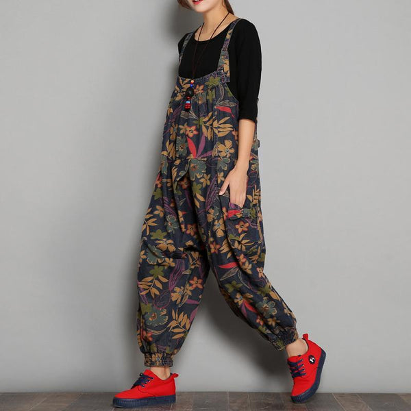 BABAKUD Spring Autumn Printed Denim Floral Casual Jumpsuits 2019 November New One Size As the picture