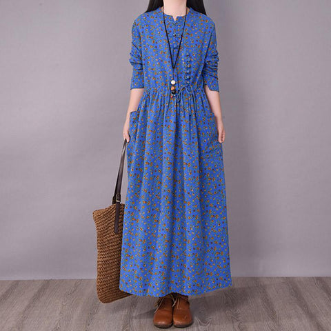 BABAKUD Spring Floral Irregular Stitching Pure Linen Long Sleeve Dress Jan 2021-New Arrival One Size Blue