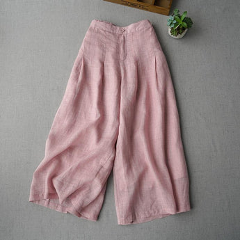BABAKUD Spring Summer Ramie Wide Leg Pants Women's Cropped Trousers 2019 October New One Size Pink