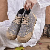 Babakud Spring Summer Retro Ethnic Flat Embroidery Shoes 2019 Jun New 35 Gray