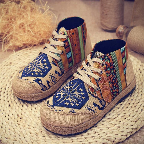 Babakud Spring Summer Vintage Ethnic Flat Linen Shoes 35-44 2019 Jun New 35 Blue