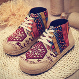 Babakud Spring Summer Vintage Ethnic Flat Linen Shoes 35-44 2019 Jun New 35 Red