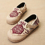 Babakud Spring Summer Vintage Ethnic Flat Linen Shoes 35-44 2019 Jun New 35 Red A