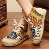 Babakud Spring Summer Vintage Ethnic Flat Linen Shoes 35-44 2019 Jun New