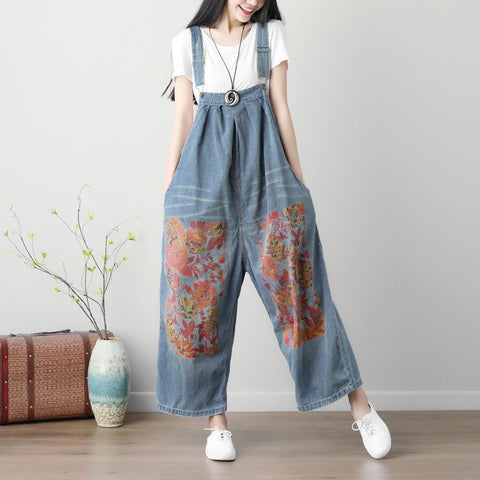 BABAKUD Spring Summer Women's Large Printed Wide Leg Jumpsuit 2019 August New One Size Blue