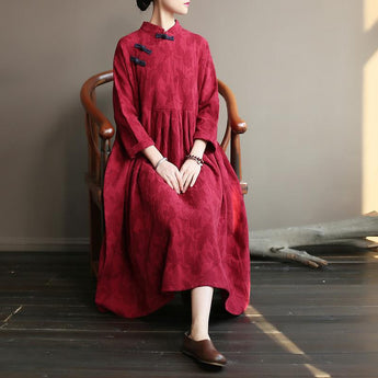 BABAKUD Spring Sutumn Vintage Chinese Style Plate Buckle Loose Cotton Linen Dress 2019 August New One Size Red