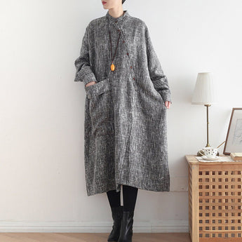 Babakud Stand Collar Loose Casual Long Sleeve Dress 2019 November New One Size Gray