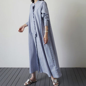 BABAKUD Striped Casual Leisure Long-Sleeved Women's Shirt Dress 2019 October New S Blue