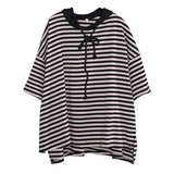Babakud Stripes Cotton Casual Loose Hooded High Low T-Shirt 2019 July New