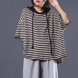 Babakud Stripes Cotton Casual Loose Hooded High Low T-Shirt 2019 July New One Size Black