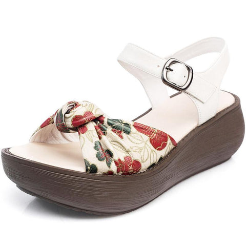 Babakud Summer Handmade Wedge Leather Sandals Summer Sandals Cll 35 White Floral