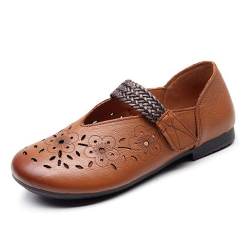 Babakud Summer Hollow Out Ethnic Casual Flats Velcro Shoes 35-41 2019 July New 35 Brown