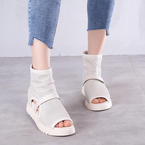 Babakud Summer Leather Hollow Casual Sandals 2019 July New 35 White