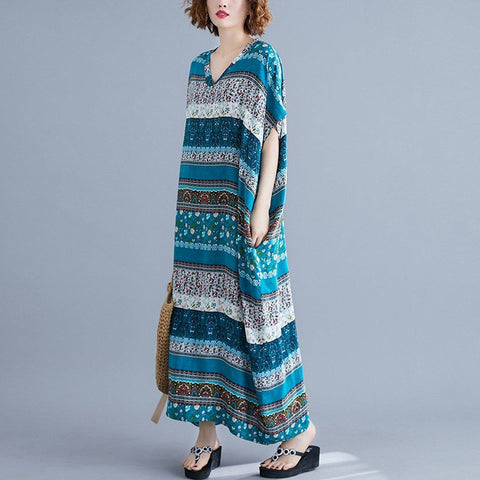 Babakud Summer Loose V-Neck Printed Maxi Dress 2019 July New One Size Blue