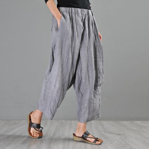 Babakud Summer New Linen Retro Casual Loose Pants 2019 Jun New One Size Gray