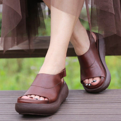 Babakud Summer Peep Toe Leather Platform Sandals 2019 July New 35 Brown