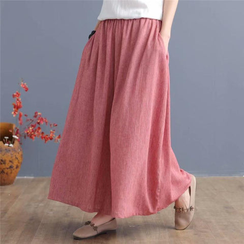 Babakud Summer Ramie Women Wide Leg Pants 2019 Jun New One Size Pink