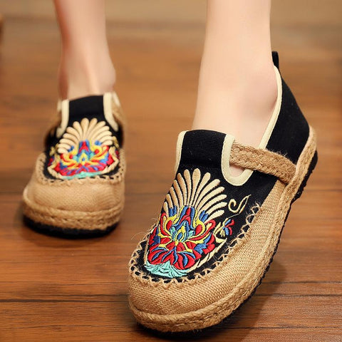 Babakud Summer Retro Straw Linen Embroidery Shoes 2019 Jun New 35 Black