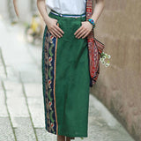 Babakud Summer Vintage Chinese style Embroidered Linen Skirt 2019 July New