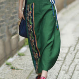 Babakud Summer Vintage Chinese style Embroidered Linen Skirt 2019 July New L Green