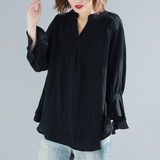 BABAKUD V-Neck Casual Loose Gathered Sleeve Linen Shirt 2019 August New