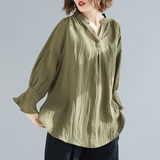 BABAKUD V-Neck Casual Loose Gathered Sleeve Linen Shirt 2019 August New One Size Army Green