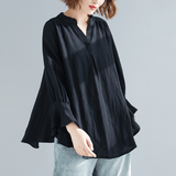 BABAKUD V-Neck Casual Loose Gathered Sleeve Linen Shirt 2019 August New One Size Black