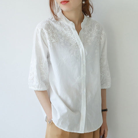 Babakud V-Neck Embroidery Floral Casual Half Sleeve Shirt 2019 July New One Size White