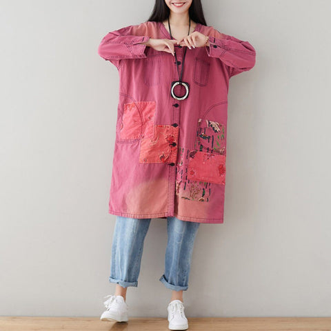 BABAKUD V-Neck Loose Casual Patchwork Autumn Thin Coat 2019 September New One Size Pink