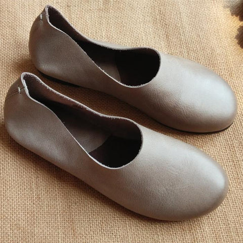 BABAKUD Vintage Comfortable Leather Handmade Women's Shoes 34-41 2019 August New 35 Gray