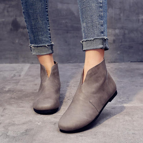 BABAKUD Vintage Cotton Linen Handmade Leather Women's Boots 2019 August New 35 Gray